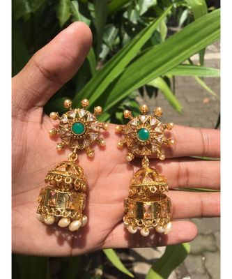 Green Stone Studded Designer Jhumkas