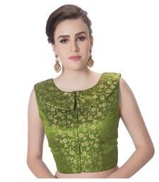 Chutni Green Brocade Petar Pan Collar Neck Princess Cut Padded Sleeveless Front Full Zipper Readymade Saree Blouse