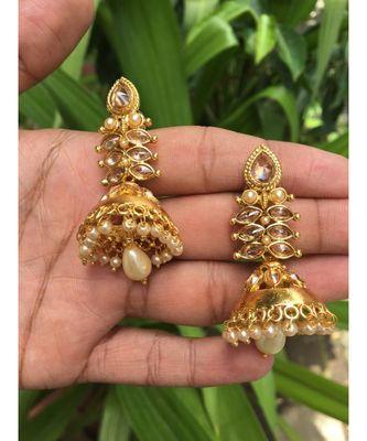 Gold Plated Stone Studded Designer Jhumkas