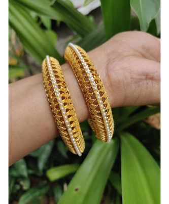 Gold Plated Pearl Bangles Set Of 2