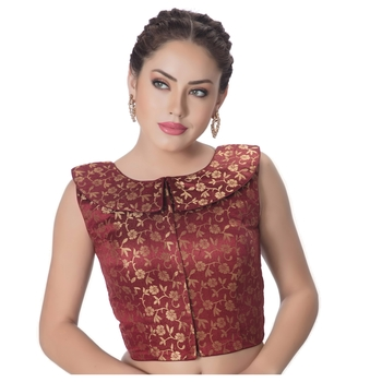 Coffee Maroon Brocade Petar Pan Collar Neck Princess Cut Padded Sleeveless Front Full Zipper Readymade Saree Blouse