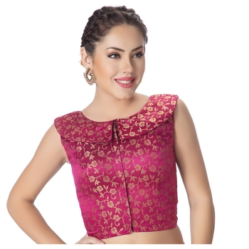 Dark Rani Brocade Petar Pan Collar Neck Princess Cut Padded Sleeveless Front Full Zipper Readymade Saree Blouse