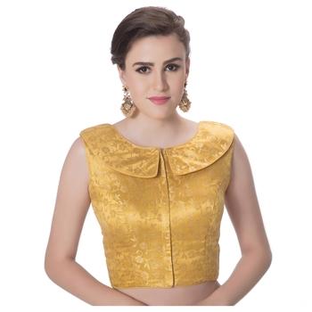 Gold Brocade Petar Pan Collar Neck Princess Cut Padded Sleeveless Front Full Zipper Readymade Saree Blouse