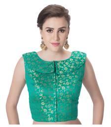 Green Brocade Petar Pan Collar Neck Princess Cut Padded Sleeveless Front Full Zipper Readymade Saree Blouse