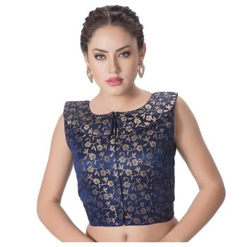 blue Blue Brocade Petar Pan Collar Neck Princess Cut Padded Sleeveless Front Full Zipper Readymade Saree Blouse