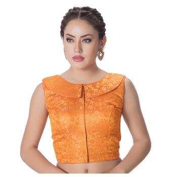 Orange Brocade Petar Pan Collar Neck Princess Cut Padded Sleeveless Front Full Zipper Readymade Saree Blouse
