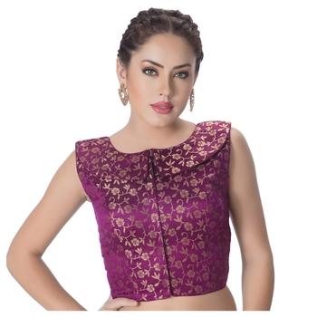 Purple Brocade Petar Pan Collar Neck Princess Cut Padded Sleeveless Front Full Zipper Readymade Saree Blouse