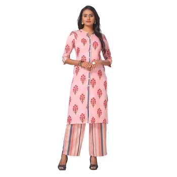 Women's Pink Printed Cotton Kurta-Palazzo Set