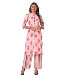 Women's Pink Printed Cotton Kurta-Palazzo Set