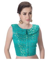 Rama Green Brocade Petar Pan Collar Neck Princess Cut Padded Sleeveless Front Full Zipper Readymade Saree Blouse