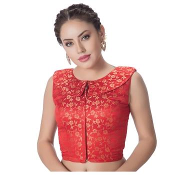 Red Brocade Petar Pan Collar Neck Princess Cut Padded Sleeveless Front Full Zipper Readymade Saree Blouse
