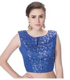 Royal Blue Brocade Petar Pan Collar Neck Princess Cut Padded Sleeveless Front Full Zipper Readymade Saree Blouse