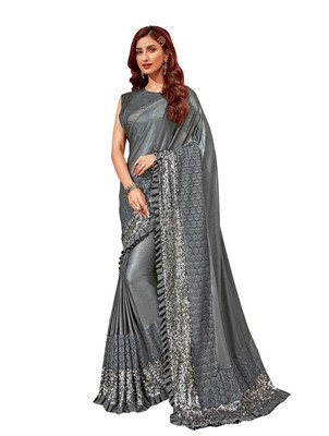 Grey embroidered lycra ruffle saree with blouse