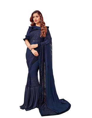 Blue embroidered lycra ruffle saree with blouse