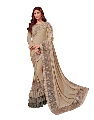 Chiku embroidered lycra ruffle saree with blouse