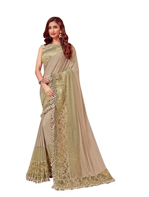Chiku embroidered lycra saree with blouse