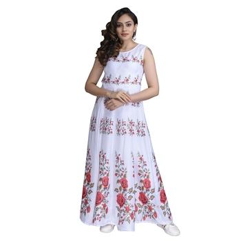 White  printed satin ethnic-kurtis