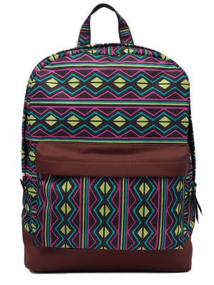 Artsy Brown & Multicoloured Printed Polyester Backpack
