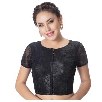 Round Neck Art Silk Black Net Embroidered Front Full Zipper Short Sleeves Princess Cut Padded blouse
