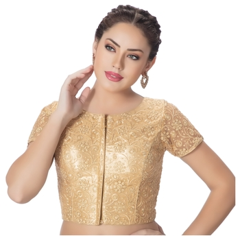 Round Neck Art Silk Dull Gold Net Embroidered Front Full Zipper Short Sleeves Princess Cut Padded blouse