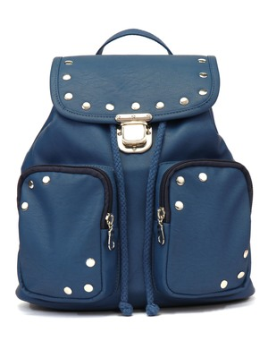 Lucid Solid Blue PU Backpack