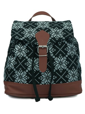 Artsy Black and White Printed Canvas & PU Backpack
