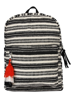 Flock Black and White Striped Jacquard Canvas Backpack