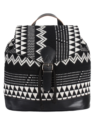 Flock Black and White Jacquard Canvas Backpack
