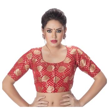 Brocade Red Umbrella Design Half Sleeves Princess Cut Padded blouse