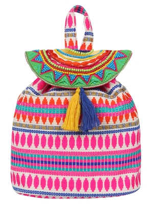 Trickle Pink and Multicoloured Jacquard Canvas Backpack