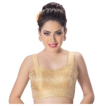 Brocade Gold Paghetti Strap Princess Cut Padded Sleeveless blouse