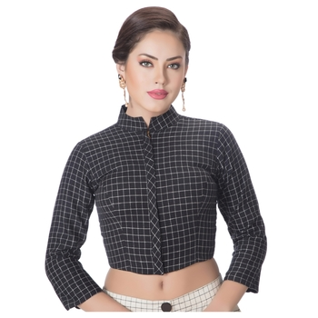 Black Cotton Stand Collar Full Zipper 3/4Th Sleeves Princess Cut Padded blouse