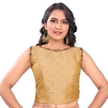 Gold Tussar Silk Stone Work Sleeveless Back Full Zip Princess Cut Padded Readymade Saree Long Blouse
