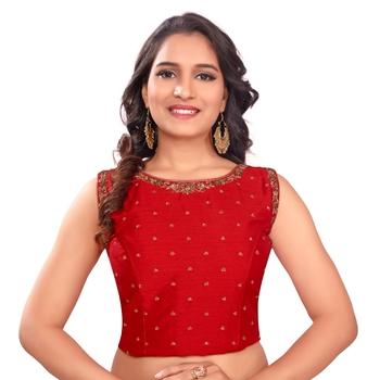 Red Tussar Silk Stone Work Sleeveless Back Full Zip Princess Cut Padded Readymade Saree Long Blouse