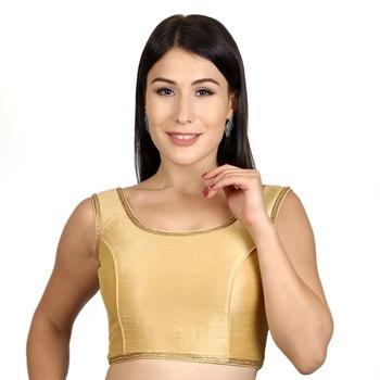 Gold Plain Raw Silk Stone Work Lace Princess Cut Padded Sleeveless blouse