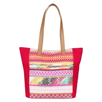 Nava Pink Jacquard Tote Bag