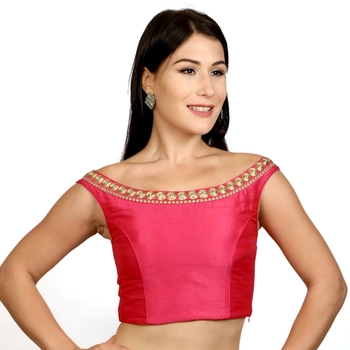 Pink Blue Boat Neck Dupion Silk Princess Cut Padded Off Shoulder Sleeveless Side Zipper blouse