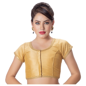 Gold Dupion Silk Princess Cut Padded Short Sleeves blouse