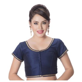 blue Blue Dupion Silk Princess Cut Padded Short Sleeves blouse