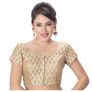 Desginer Brocade Wedding Off White Short Sleeves Princess Cut Padded Readymade Saree Blouse