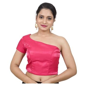 Pink Raw Silk Princess Cut One Shoulder Side Zipper Padded blouse