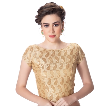 Brocade Desginer Cream Short Sleeves Princess Cut Padded Back Open Full Zipper blouse