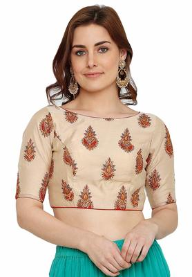 Designer Cream Color Silk Embroidered Work Readymade Blouse