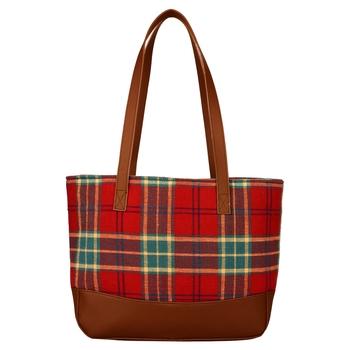 Streak Red Cotton Shoulder Bag