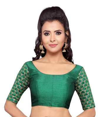 Designer Greeen Sleeve Embroidered Work Readymade Blouse