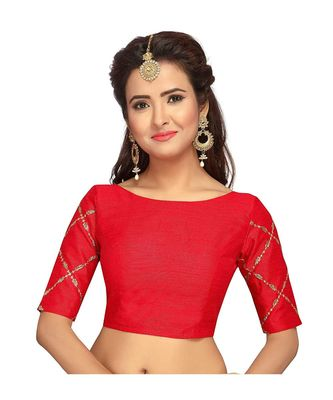 Red Designer Sleeve Heavy Embroidered Work Readymade Blouse