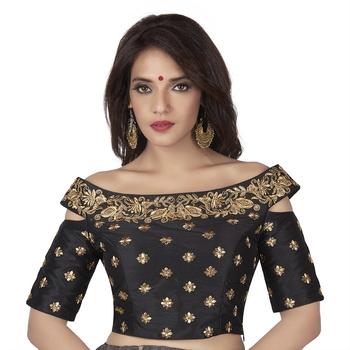 Black Cotton Silk Boat Neck Off Shoulder Cold Shoulder Elbow Sleeves Princess Cut Padded blouse