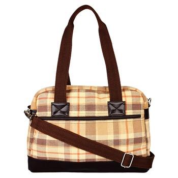 Streak Beige Cotton Shoulder Bag