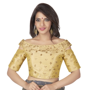 Gold Cotton Silk Boat Neck Off Shoulder Cold Shoulder Elbow Sleeves Princess Cut Padded blouse