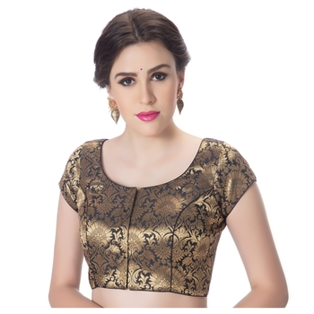 Brocade Black Princess Cut Padded Short Sleeves blouse